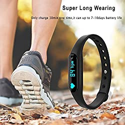 3Keys Smart Bracelet Heart Rate Monitor Smartband Sport Pedometer Wristband Watch Fitness Tracker For iPhone Samsung IOS Android Smart Phones (Color May Vary)