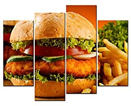 Canval prit painting Food Wall Art Pork Hamburger and French Fries 4 Panel Picture on Canvas