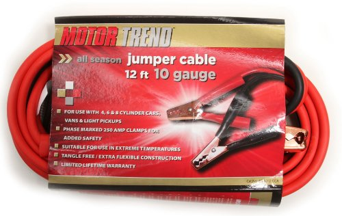 Motor Trend MT1012-CCA 12-Foot Copper Clad Aluminum Jumper Cables, 250