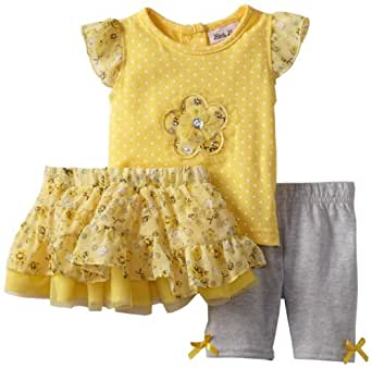 Little Lass Baby-Girls Infant 3 Piece Skirt Set with Grey Legging, Yellow, 3-6 Months