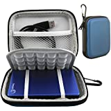 Lacdo(TM) Waterproof Hard EVA Shockproof Carrying Case Pouch Bag for Seagate Backup Plus Slim 2TB 1TB 500G / Slim for Mac Mobile Device Backup USB 3.0 / for Toshiba Canvio Basics / Canvio Connect / Canvio Slim II / 2.5 inch Portable External Hard Drive HDD (Blue)
