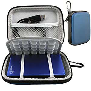 Lacdo Waterproof Hard EVA Shockproof Carrying Case for Seagate Backup Plus Slim, Toshiba Canvio Basics, Canvio Connect, Canvio Slim II 2.5-Inch Portable External Hard Disk Drive - Blue