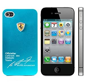 Callmate Ferrari Style Aluminum iPhone 4/4S Back Case with Free Screen Guard - Sky Blue