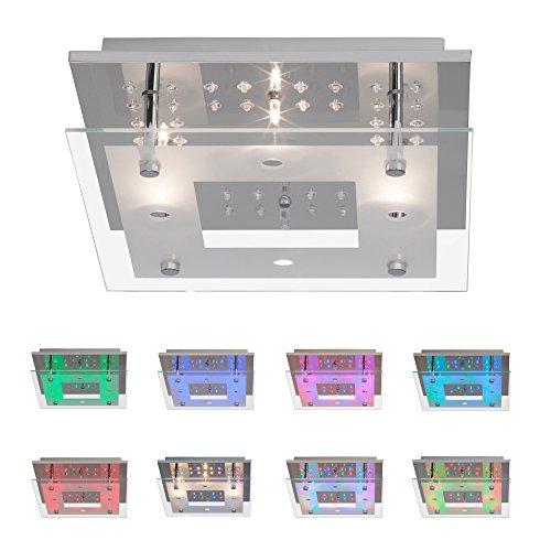 wohnzimmerlampen dimmbar:Moderne Deckenleuchte mit Deko RGB LED, Fernbedienung, 4x 16W Halogen