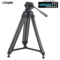 DIGITEK Professional Tripod DTR-510VD Pro Multi Purpose Pan Tilt filming equipment for Video Cameras, DSLR, Mini JIB Support System, Handle 9.5KG Load, Photography Photo Shoot, Video Filming, Cinematography ( GizmoGird )