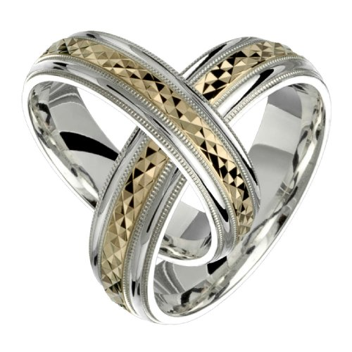 Ilario &#8211; Stunning Two Tone Comfort Fit Wedding Band for Him &#038; Her! Custom Made! Choose Your Size.