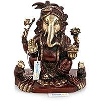 Collectible India Large Antique Finish Brass Ganesha Idol,Ganesh Statue Brown,Gold For Vastu