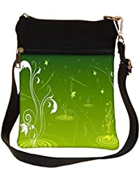 Snoogg Abstract Green Design Cross Body Tote Bag / Shoulder Sling Carry Bag