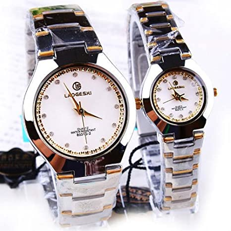 silver white cheap discount couple waterproof watch for lovers gifts