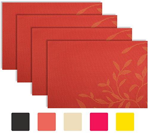 secret life placemat reversible silver gray chocoolate brown coral orange color leaf theme woven vinyl placemats set