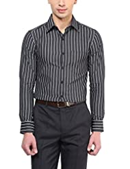 American Crew Men's Full Sleeve Stripes Shirt With Pocket (White & Black)