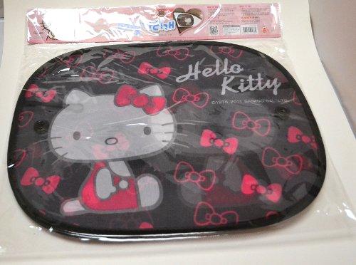 2-Pcs-Black-Hello-Kitty-Face-Car-Side-Windows-Sun-Shade-w-Suction-Cups