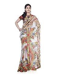 Aadarshini Women's Chiffon Saree (4087, Beige And Green)