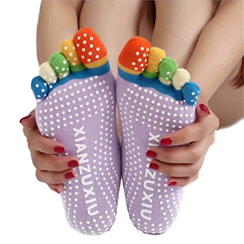 Toe Socks, Longra 5-Toe calze colorate Yoga palestra Massaggi delle donne (Viola)