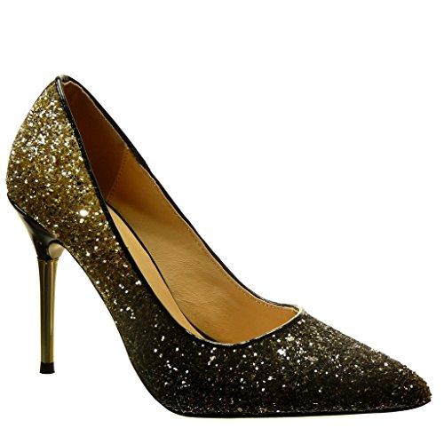 Angkorly - Scarpe da Moda scarpe decollete stiletto sexy da sera donna paillette Tacco Stiletto tacco alto 10 CM - Oro PA-15 T 35