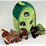 Plush Forest Animal House with Animals - Five (5) Stuffed Forest Animals ( Brown Bear, Black Bear, Moose, Frog, Fox) in Play Forest Carrying House