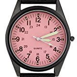Orkina Black Case Pink Dial Nylon Canvas Strap Fashion Wrist Watch P104IP-BP
