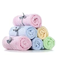 Baby Washcloths (set of 6), 100% Organic Bamboo Bath Towels for Baby, 10 x 10 inches, MOM'S #1 Choice, Perfect for Sensitive Skin from Cyboome