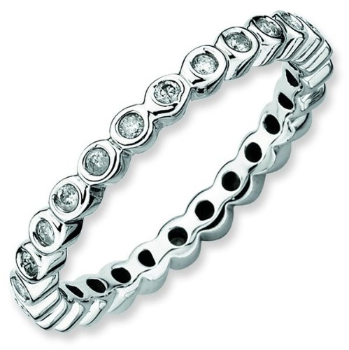 Size 5 - Diamond 2.5mm Bezel Set Eternity Band Sterling Silver Stackable Ring