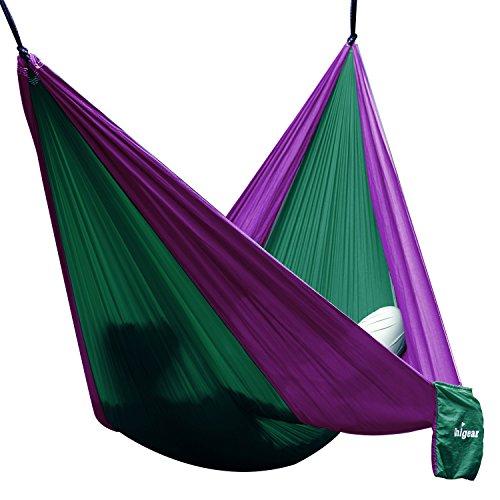 Hngematte-Camping-Hammock-SingleDouble-Parachute-leicht-und-tragbar-mit-extra-Schlafaugenmaske-Augenbinde-Blindfold-fr-fr-OutdoorCampingReisen-Single-DunkelgrnLila