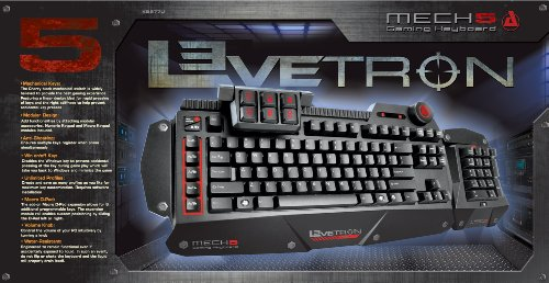 Azio Levetron Mech5 Mechanical Gaming Keyboard with Cherry Black MX Switches (KB577U)
