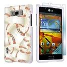 LG Optimus Showtime L86C White Protective Case + Screen Protector By SkinGuardz - Baseball