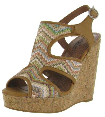 Lucky Women'S Riedel2 Wedge Sandal,Pastel Multi/Dark Camel,10 M Us