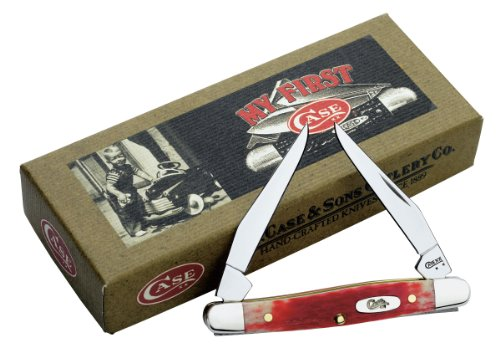 Case Cutlery 2636 Case Tiny Muskrat Pocket Knife With Stainless Steel Blades   Dark Red Bone