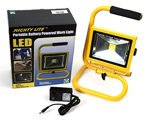 """Power Tech """"Mighty Lite"""" 20W Cordless Rechargeable Led Work Light - 1800 Lumens Output - So Many Uses: Jobsites, Camping, Emergency Light For Home, Car Or Truck!"""