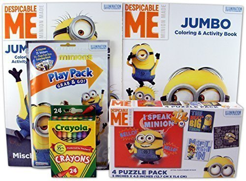 Bundle-5-Items-Despicable-Me-Minions-4-puzzle-Pack-2-Despicable-Me-Coloring-and-Activity-Books-Minions-Grab-Go-Play-Pack-Pack-of-24-Crayola-Crayons
