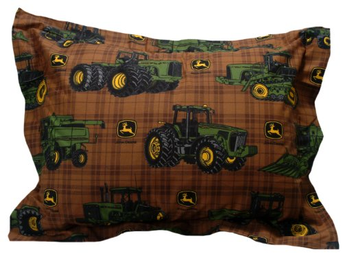 John Deere Bedding Traditional Tractor And Plaid Collection, Pillow Sham, 20 By 26-Inch