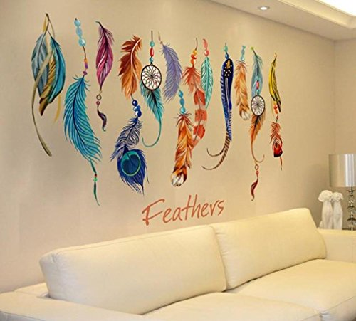 LANDFOX Classic Creative Dream Catcher Feather Wall Sticker Art Decal Mural