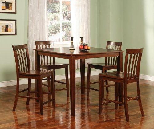 Buy 5pcs Contemporary Walnut Finish Counter Height Dining
