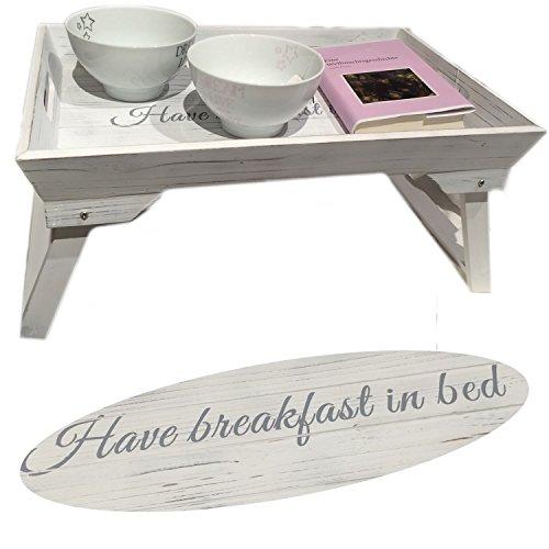 LS-Design-Frhstckstablett-Bett-Tisch-Tablett-Serviertablett-Holz-klappbar-Shabby-Vintage