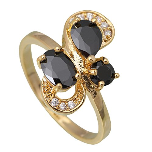 [Nachonia Jewelry Famous New Ring Black Topaz Fashion Yellow Gold Plated Ring size 6 6.5 7 7.5 8 9] (Famous Trios Costumes)
