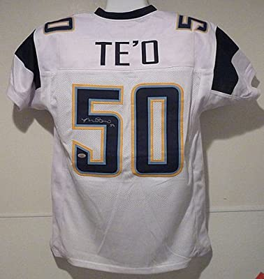 Manti Te'o Signed White Size XL San Diego Chargers Jersey - Authentic Autographed NFL Jerseys