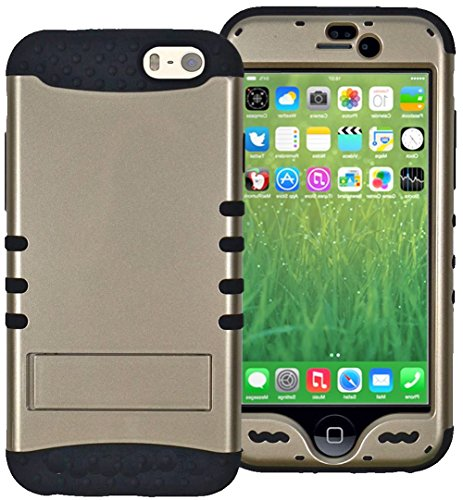 """Mylife Glistening Gold {Metallic Kick-Stand Design} Neo Hybrid Armor Case For The New Iphone 6 (6G) 6Th Generation Phone By Apple, 4.7"""" Screen Version (Two External Snap On Hard Protector Plates + Full Body Internal Soft Silicone Bumper Gel Protection) front-308070"""
