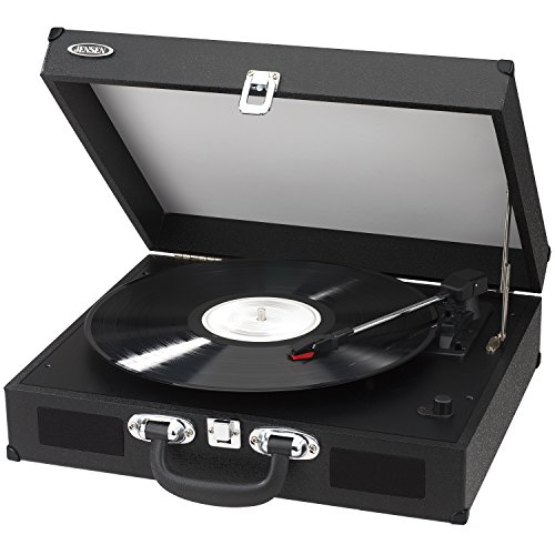 Jensen Jta-410-Blk Portable 3-Speed Stereo Turntable With Built-In Speakers (Black)