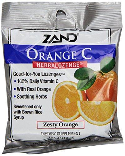 Zand Herbalozenge Lozenges, Orange C, Natural Orange Flavor , 15 Lozenge Bags, 12 Count