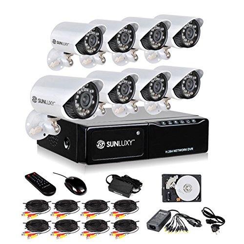 SUNLUXY 8CH CCTV DVR Recorder Aufzeichnungsgerät Videoüberwachung Set 8x 480TVL IR Nachtsicht Wasserfest Überwachungskamera Außen mit 500GB Festplatte