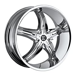 22 inch 22×8.5 2Crave No. 5 Chrome wheel rim; 5×4.5 5×114.3 bolt pattern with a +38 offset. Part Number: N05-2285LL38JC