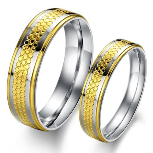 Couple Stainless Steel Rings Pair Jewelry for Lover Bands Gold Color Gj307 (Men's Ring, 8)