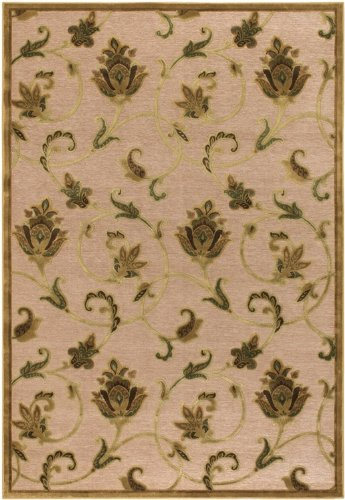 "Trasitional Pave Petal Vine Ivory - Antique Gold Contemporary Rug Size: Rectangle: 5'3"" x 7'6"""