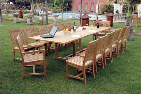 Teak Outdoor Patio Dining Set, 13 pieces