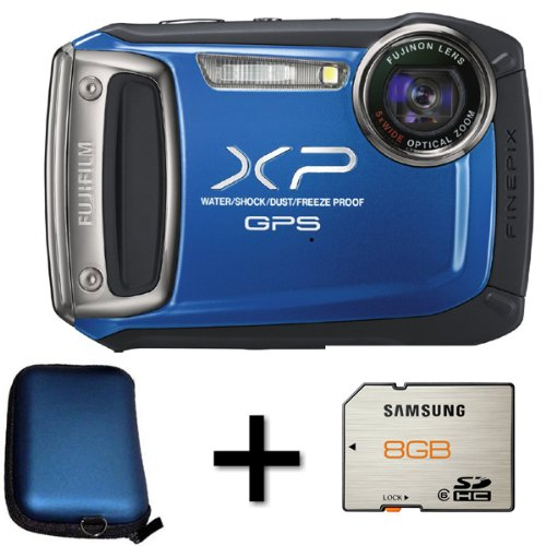Fujifilm FinePix XP150 Blue + 8GB Memory Card and Case (14MP, 5x Optical Zoom) 2.7 inch LCD