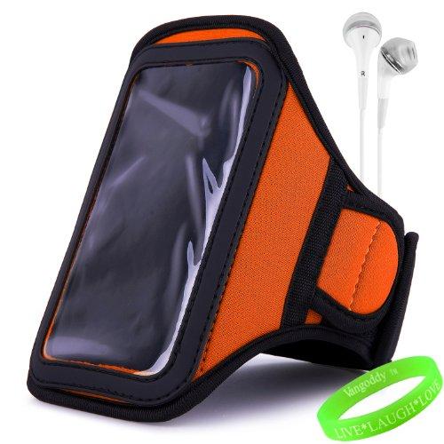 Vangoddy Active Bundle - Neoprene Sweat-Proof Armband Pouch W/ Key & Id Card Holder Fits Samsung Galaxy S4 Android Smartphone // Orange Neon \\ + White Earphone Buds W/ Microphone