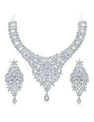 Sukkhi Eye-Catchy Gold And Rhodium Plated Australian Diamond Stone Studded Necklace Set For Women