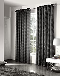 Savoy Black Gold Embroidered Chain Link Lined 66x72 Ring Top Curtains #ztir *as* from Curtains