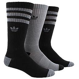 adidas Men\'s Originals Crew Socks (3-Pack), One Size, Black L Onix-Light Onix Marl