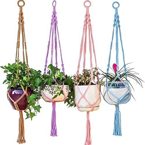 mkono-suspension-plante-macrame-decoration-porte-plantes-interieur-ou-exterieur-coton-4-jambes-100cm